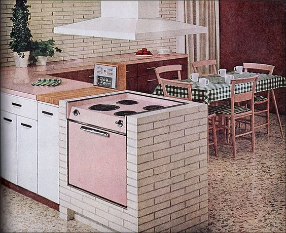 Stove family homes and ranges on pinterest for 1960 kitchen cabinets