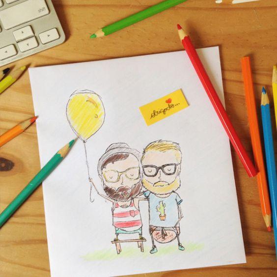 """somos lápis & papel. o Thi fez um pedido para o Universo: """"eu só queria alguém para desenhar comigo"""". o Rick, não entendia o que faltava em seus desenhos. um dia, o destino cruzou seus caminhos, e hoje eles se completam. um desenha, o outro pinta. juntos, contamos nossa história, colorindo a vida ❤"""