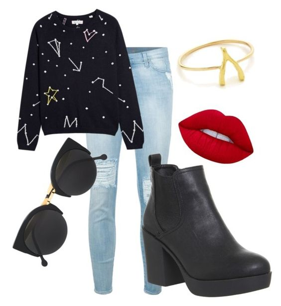 """""""Constellation"""" by madison-taylor-73 on Polyvore featuring 7 For All Mankind, Chinti and Parker, Office, RetroSuperFuture, Lime Crime and Jennifer Meyer Jewelry"""