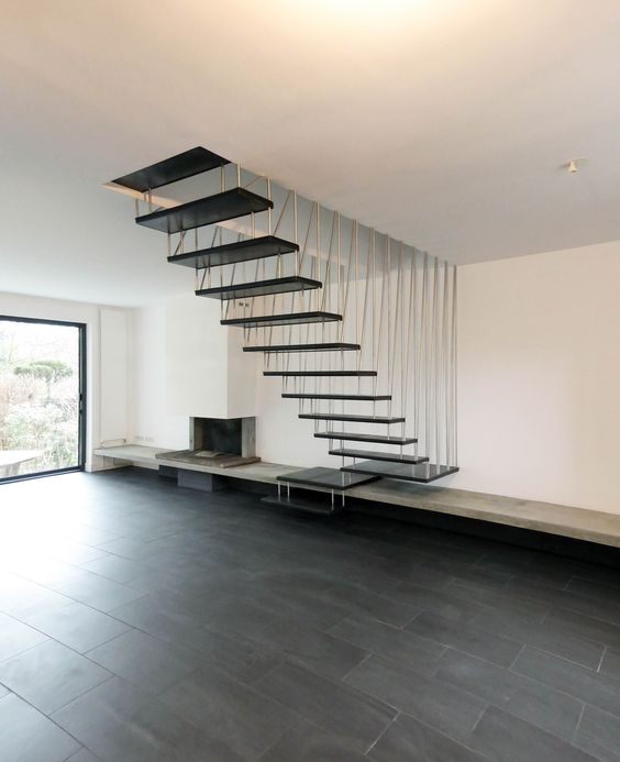 Suspended Style 32 Floating Staircase Ideas For The: Tiges Inox Et Marche En Acier Noir