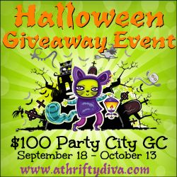 Halloween 100 Party City Giveaway ends 10/18