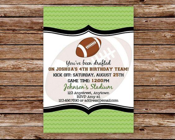 Football Birthday Invitation, Football Party, Football Invitation ...