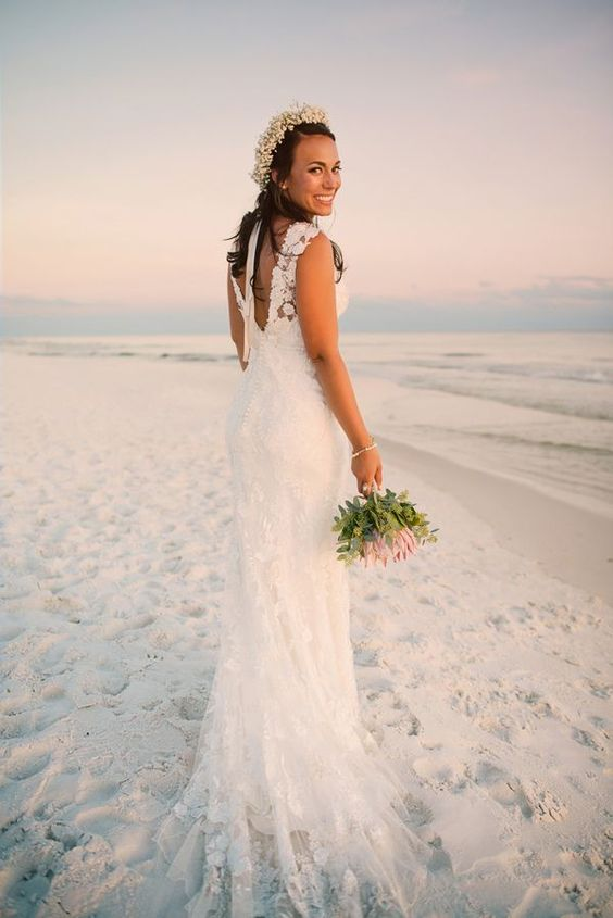 Beach-Friendly Boho Wedding Dress Ideas Once you decide a beach wedding, finding your dreamy bridal dress just seems a little bit easier. For your bridal look, anything goes as long as it is lightweight, flowy and makes you feel and look fabulous. Lace and chiffon fabrics with airy details will be perfect.