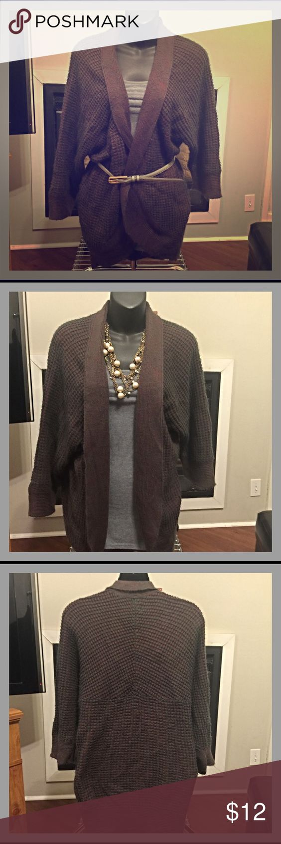 Cardigan from Nordstrom Very cute and comfy cardigan from Nordstrom.  Brand is Valette. 68% acrylic, 32% cotton.  Maroon and gray. 3/4 sleeves. In good pre-owned condition, though there are some signs of wear (see pic 4).  🌟 TOP RATED SELLER 🌟 FAST SHIPPER 🌟 Valette (Nordstrom) Sweaters Cardigans