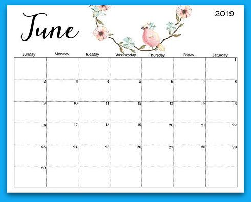 2019 Floral Monthly Printable Calendars June 2019 Calendar June