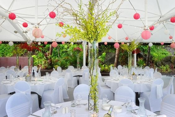 Hanging paper lanterns and fairy lights at a wedding at the Outrigger Centre on Hamilton Island