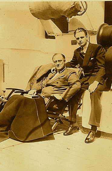 FDR and his son Elliot, on board the Acquitania in 1931