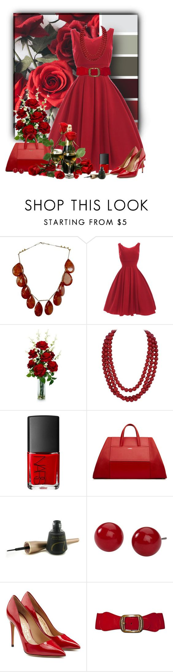"""""""Untitled #1560"""" by tinkertot ❤ liked on Polyvore featuring Trilogy, Nearly Natural, NARS Cosmetics, Jane Iredale, Kim Rogers and Salvatore Ferragamo"""