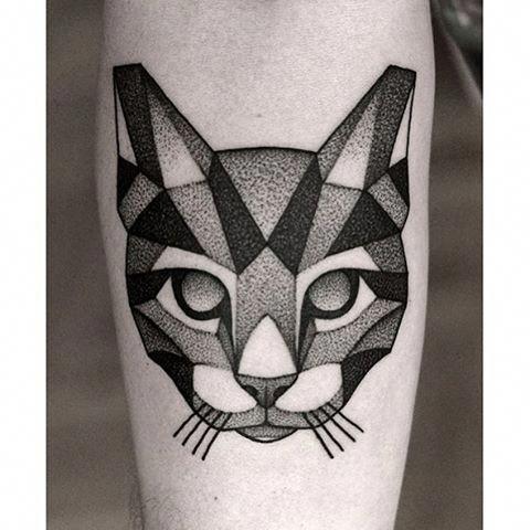 Awesome Geometric Tattoo Done By Kamilczapiga Whichinkilike Linework Blackwork Blackandwhite Geometric Cat Tattoo Black Cat Tattoos Cat Tattoo Designs