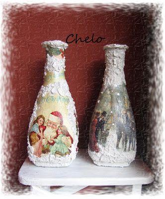 Botellas decoradas decoupage manualidades pinterest search - Botellas decoradas navidenas ...