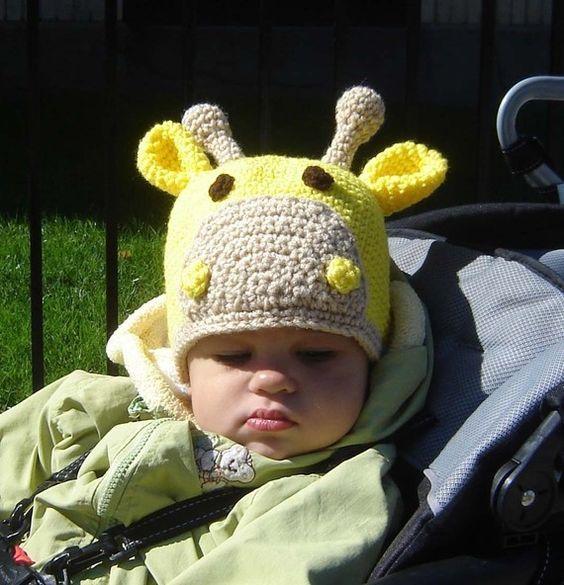 Instant Download Crochet PDF PATTERN No024 Giraffe Beanie   Niñas ...