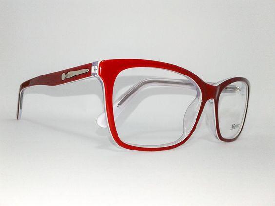 Óculos Grande Armação Acetato Feminino Tamanho 56 Vermelho