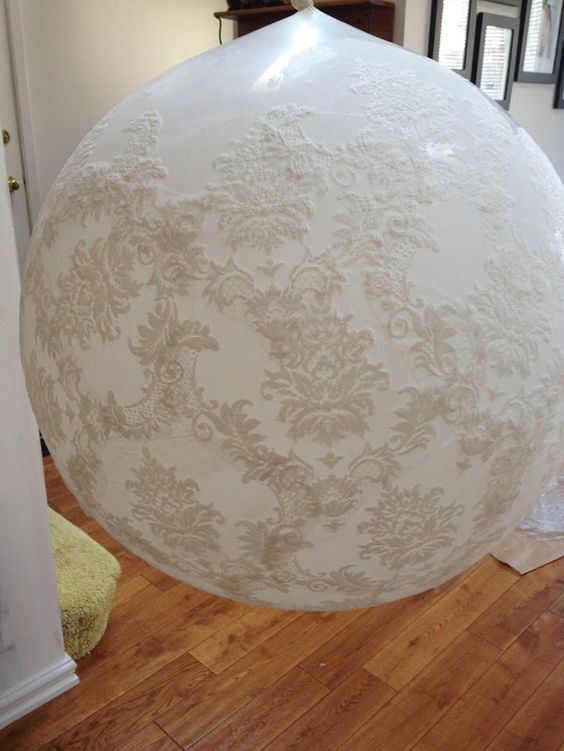 How to make lace balloons – Lace with a defined repeating pattern that can easily be cut into pieces, 1 meter of lace per 3 foot balloon, Wall Paper Glue (make sure it dries clear),  A soft paint brush,  Wax Paper,  Scissors,  3 foot balloons in white x 3,  String,  A place to hang said 3 foot balloons.