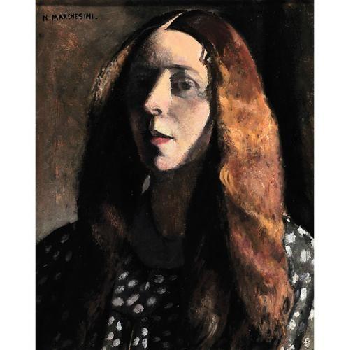 Studio di testa o Ragazza con i capelli sciolti (autoritratto), ca 1925, Nella Marchesini. Italian (1901 - 1953)
