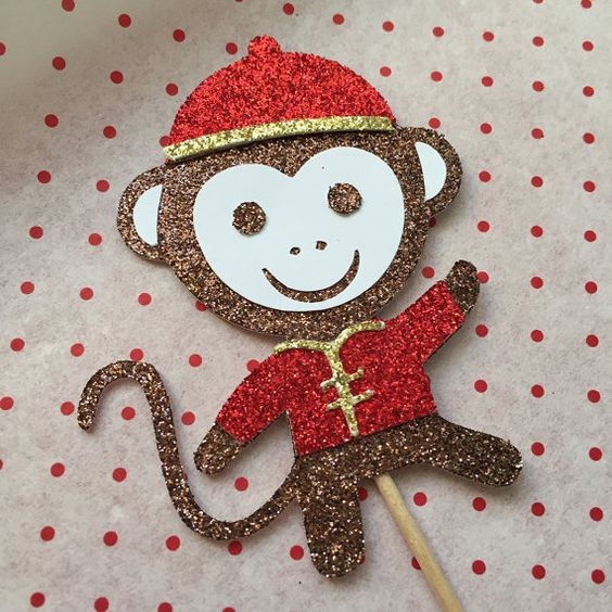 Glitter Year of the Monkey Cupcake Topper - Set of 6: