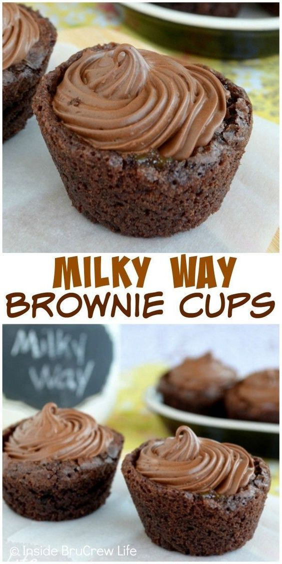 ... make these little Milky Way Brownie Cups a fun surprise treat