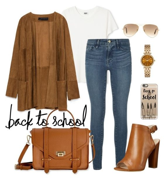 """""""To school with brown suede jacket"""" by samsinjsh ❤ liked on Polyvore featuring Zara, Frame Denim, Vince Camuto, GiGi New York, Casetify, Michael Kors and Ray-Ban"""