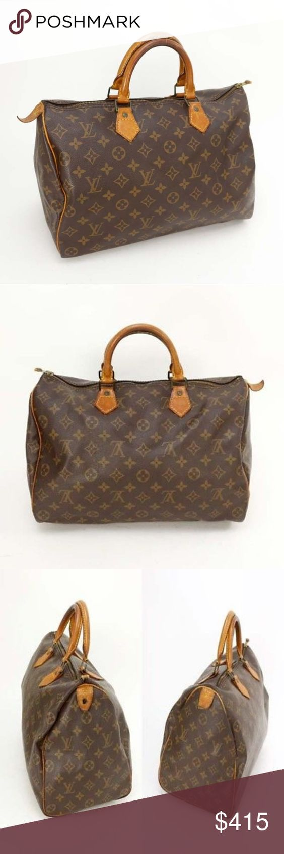 Louis Vuitton Speedy 35 M41524 HandBag 10964 Outside: Minor rubs scratches and stains on the leather parts. Minor discoloration partially. Minor stickiness on the surface. Minor rubs at the all of corners. Rubs,peeling and cracked on a part of handle. Tar