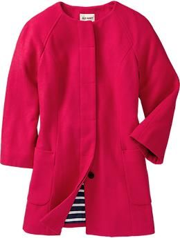 Hot pink collarless coat from old navy. This would be so cute with