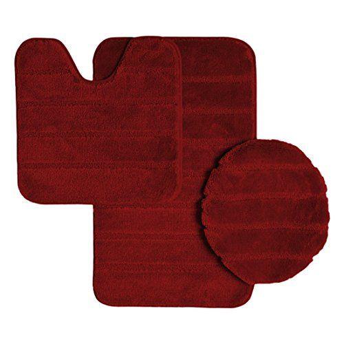 Ribbed Design Soft Pile Solid Color 3 Piece Bathroom Rug Set Bath