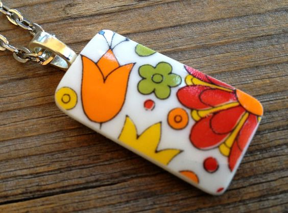 Vintage Orange and Red Psychedelic Flower by CombustionGlassworks, $16.00