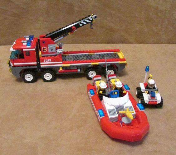 7213 Lego City Off-Road Fire Truck & Fireboat Complete firestation fireman #LEGO