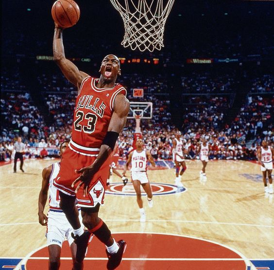 Jordan gets ready to throw down an authoritative dunk against Detroit in Game 4 of the 1991 Eastern Conference Finals. The Bulls put an exclamation point on avenging their back-to-back playoff eliminations at the hands of the Pistons, sweeping Detroit in four games.