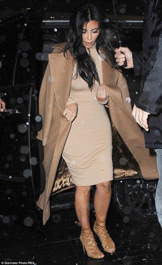 Kim Kardashian braves the New York rain in her sandals #dailymail