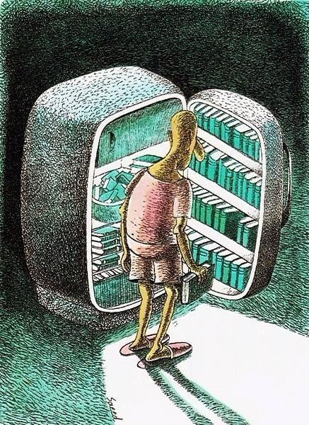 Libros a la fresca (ilustración de Saeed Sadeghi)