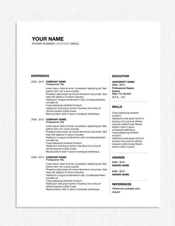 Professional Resume Design Word Template by OriginalResumeDesign - award word template