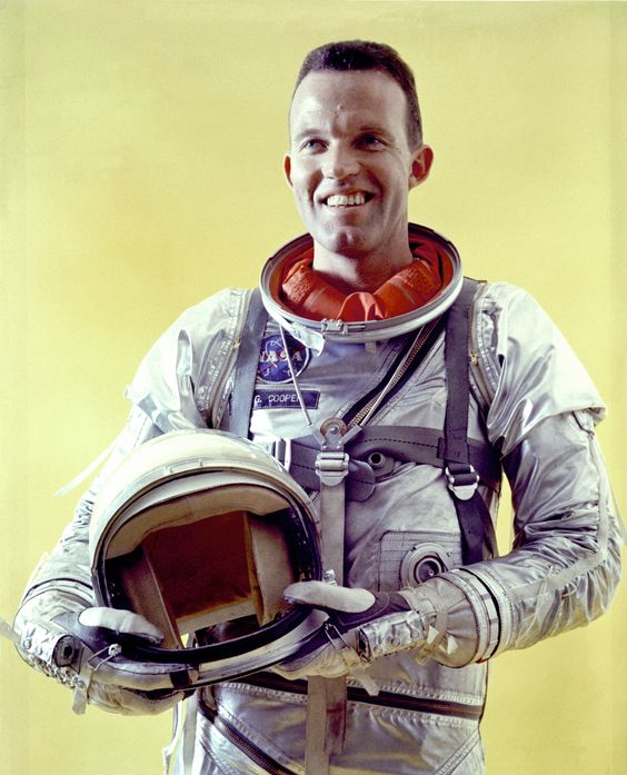 Mercury Astronaut L. Gordon Cooper Jr., in his pressure suit with helmet during Mercury-Atlas 9 prelaunch activities. (Great Images in NASA)