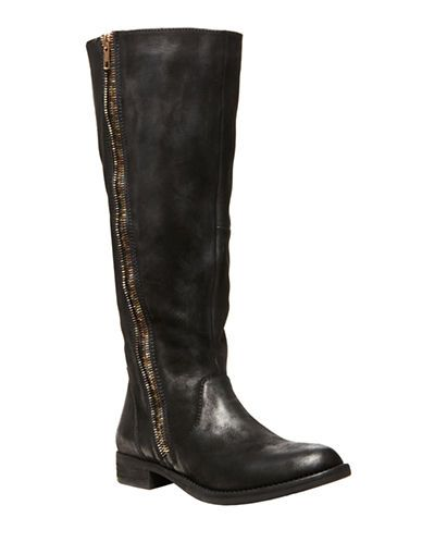 Steven By Steve Madden Zendra Tall Leather Boots BLACK