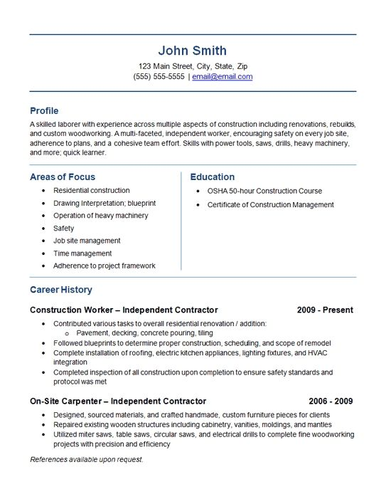 Independent Contractor Resume Example Construction Labor Job Resume Examples Resume Examples Resume