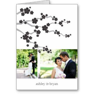 Black Sakura Cherry Blossoms Asian Wedding Thank You Stationery Note Card custom wedding thank you photo card by fatfatin at Zazzle.com