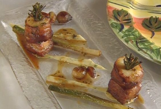 Roasted Scallops and Braised Pork Belly with Celeriac Puree and Rosemary Sauce by Tom Aikins