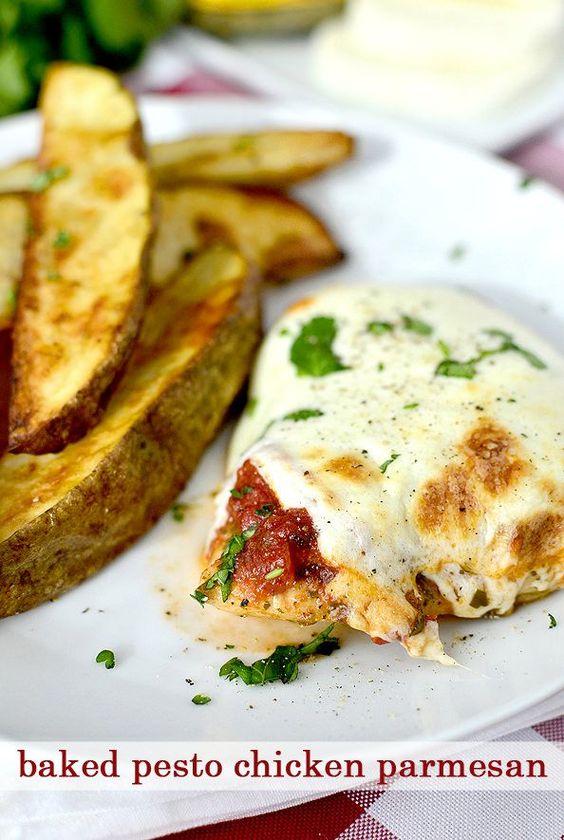 Baked Pesto Chicken Parmesan #chicken #chickenthighs #dinner   iowagirleats.com