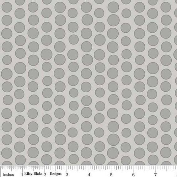 Cotton Fabric, Tone on Tone Gray Polka Dot , Riley Blake Designs Lila Tueller