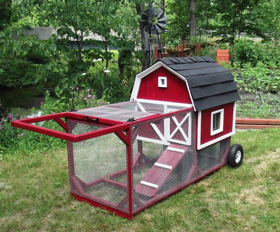 mobile Little Red Barn Chicken Coop, holds 4 chickens, 8' x 2.25' x 3'