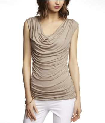 RUCHED COWL SHELL TOP | Express - Cobblestone | My Fashion Style ...