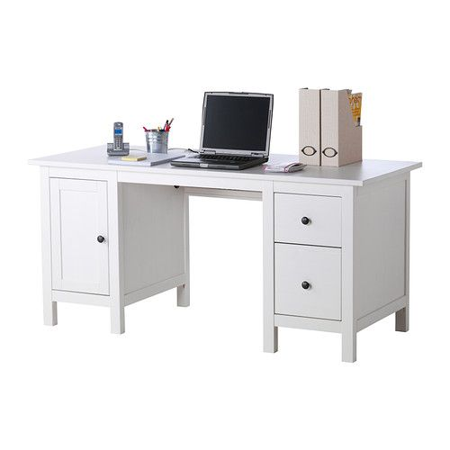 HEMNES Desk IKEA Cable shelf under the table top; keep sockets and cables out of sight and the