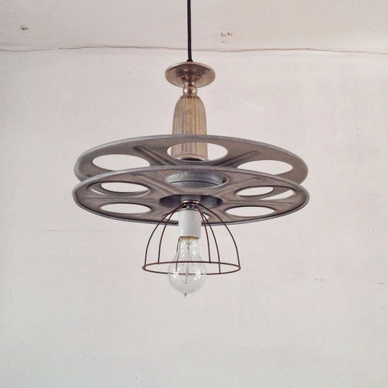 Industrial Tin Chandelier Industrial By Industriallightworks: Industrial Chandelier Film Reel Media Room Vintage By