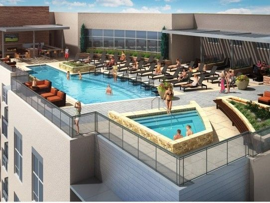 Rooftop Pool Spa And Cabanas With Soaring Views Of The Rocky Mountains Apartment Rooftop Rooftop Pool Moving To Denver