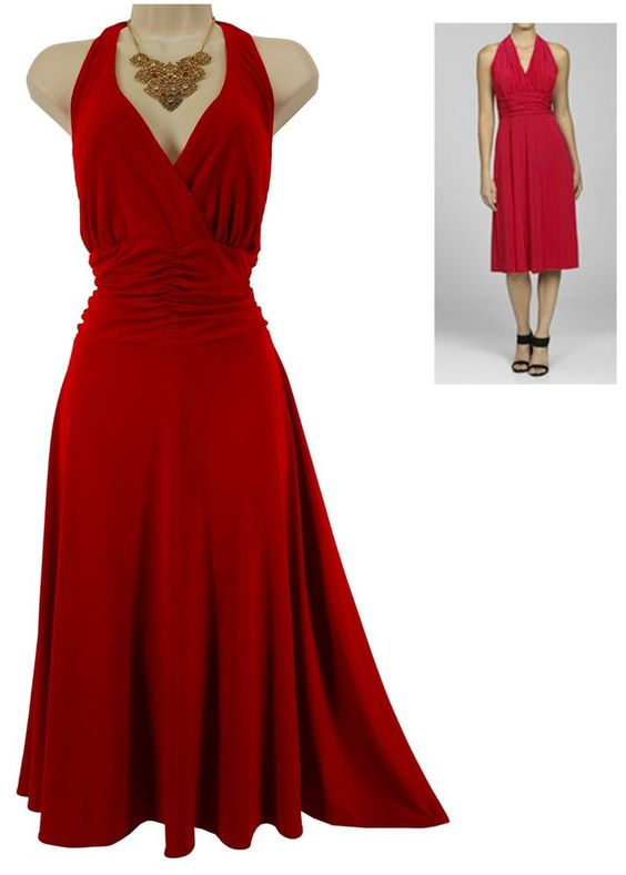 18W 2X SEXY Womens LIPSTICK RED HALTER MARILYN MONROE DRESS Cocktail PLUS SIZE…