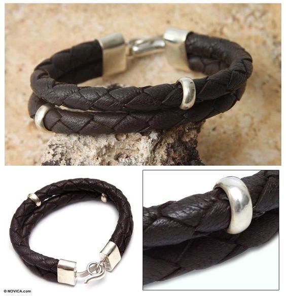 Men's Leather Sterling Silver Wristband Bracelet - Balance in Brown | NOVICA