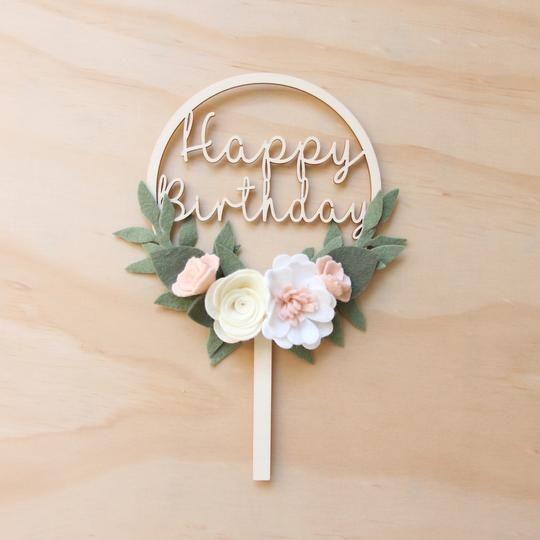 Custom Name Cake Topper  Felt Flower Cake Topper  Script Name Topper With Felt Flower  Floral Decor  1st Birthday  Smash Cake Topper