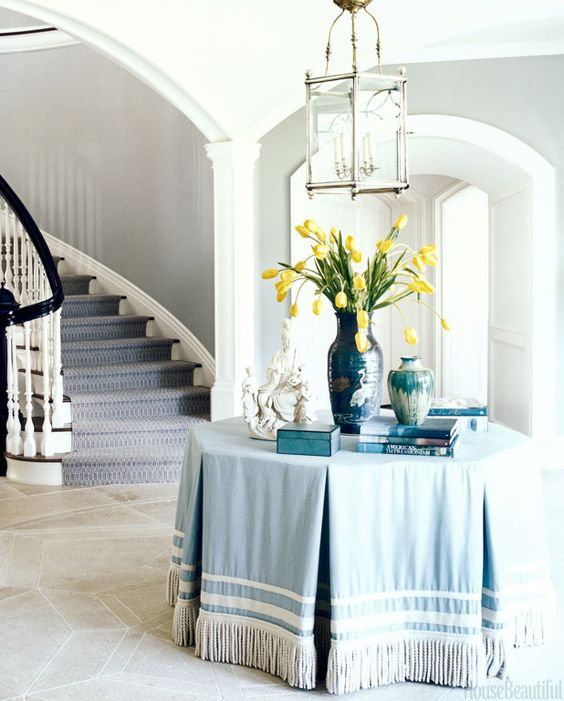 robin's egg blue skirted table with tape trim and bullion trim | Interior design by Alex Papchristidis
