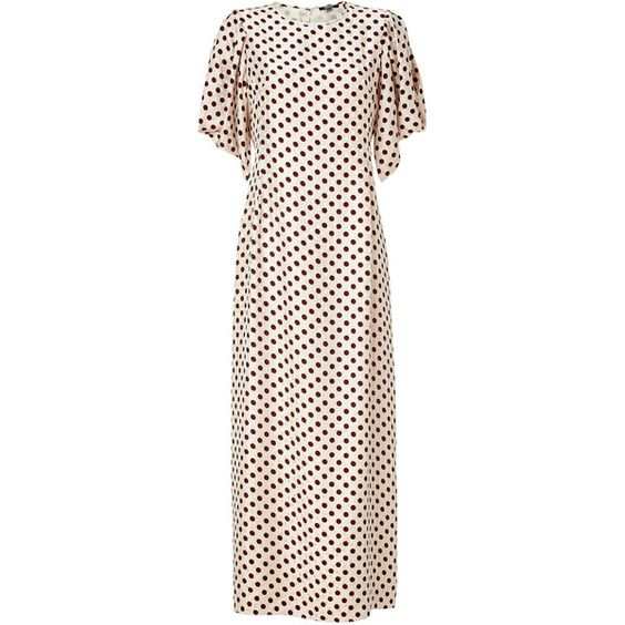RAOUL Cream Polka Dot Silk Tara Maxi Dress ($590) ❤ liked on Polyvore