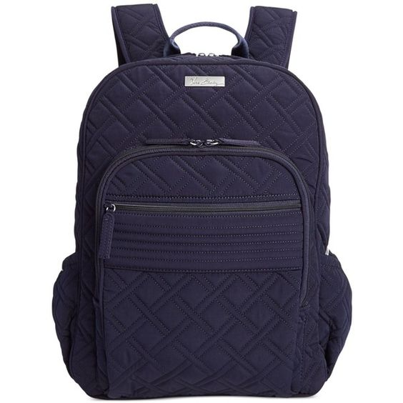 Vera Bradley Campus Backpack ($138) ❤ liked on Polyvore featuring bags, backpacks, accessories, classic navy, quilted backpack, print backpacks, navy blue backpack, navy bag and vera bradley backpack