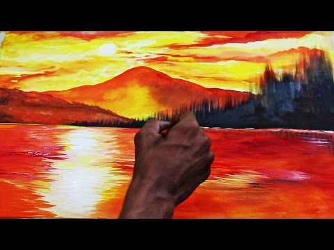 Sunset Landscape Watercolor Painting Time lapse Video - YouTube
