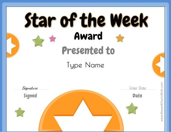 star of the week free printable for teachers star of